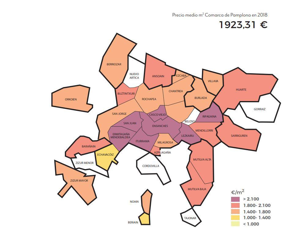 Precio medio por m2 en la Comarca de Pamplona
